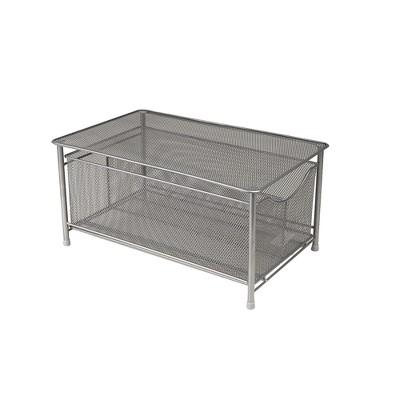 MIND READER Storage Basket and Organizer [METAL MESH] 3-Compartment Pull-out / Sliding Organizing Drawer, Under the Sink Kitchen and Bathroom Shelf Cabinet (BLACK)