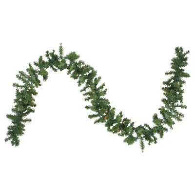 """Northlight 9' x 8"""" Prelit Canadian Pine Artificial Christmas Garland - Clear Lights"""