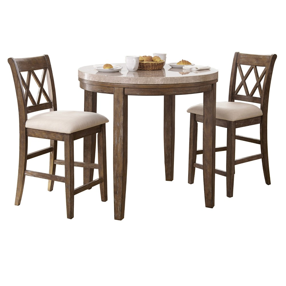 3Pc Fran Dining Set Weathered Gray - Steve Silver, Brown