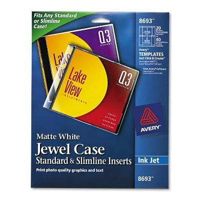 Avery Inkjet CD/DVD Jewel Case Inserts Matte White 20/Pack 8693