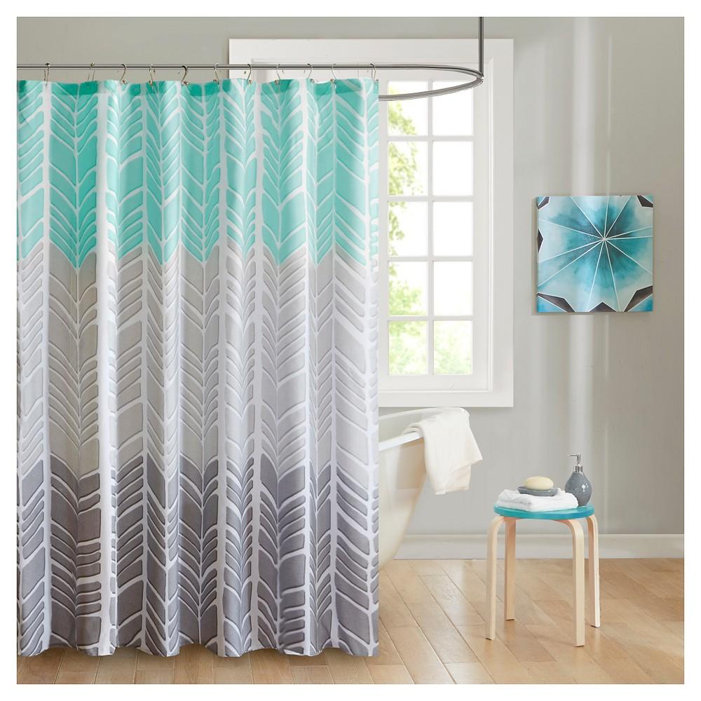 Image of Amanda Herringbone Shower Curtain Aqua