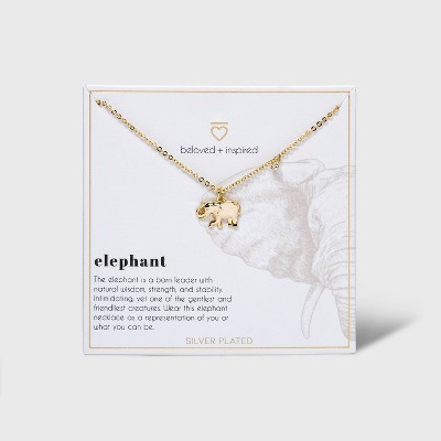 Beloved + Inspired Gold Dipped Silver Plated Elephant Necklace