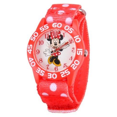 Girls' Disney Minnie Mouse Plastic Watch - Red - image 1 of 2