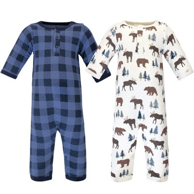 Hudson Baby Infant Boy Premium Quilted Coveralls 2pk, Moose Bear