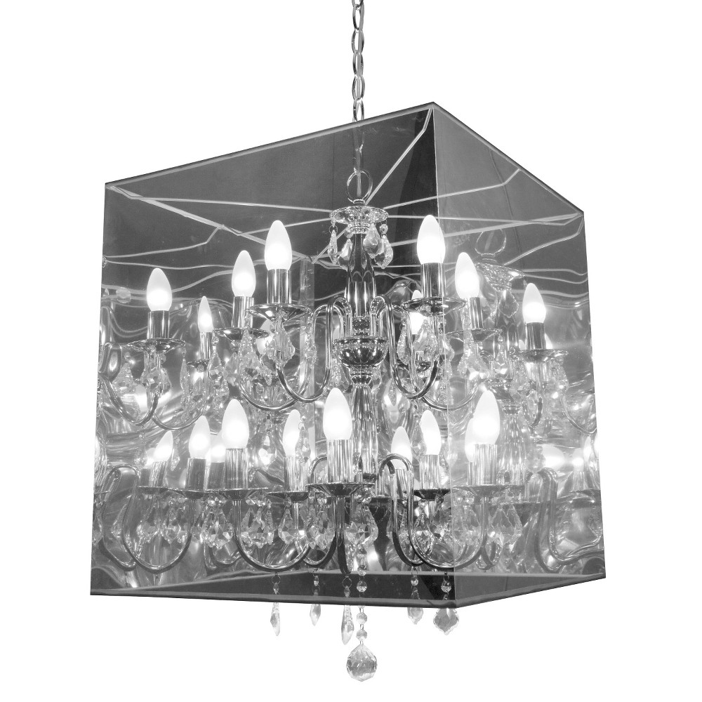 Contemporary 10-Bulb Translucent and Steel 21 Ceiling Lamp - ZM Home, Clear