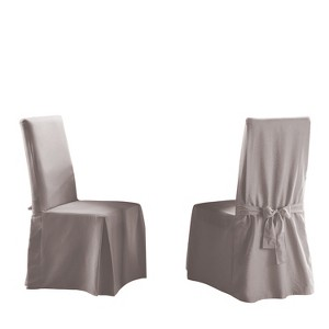 Cotton Duck Long Dining Room Chair Slipcover Light Gray - Sure Fit