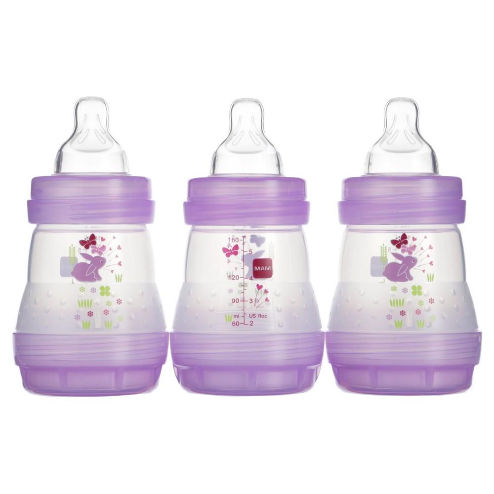 Mam Anti-Colic Bottle, 5oz, 3ct, Pink