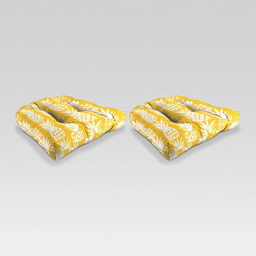 Outdoor Set of 2 Wicker Chair Cushions - Yellow Pineapple - Jordan Manufacturing