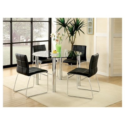 5 Piece Glass Top Chrome Leg Round Dining Table Set Black
