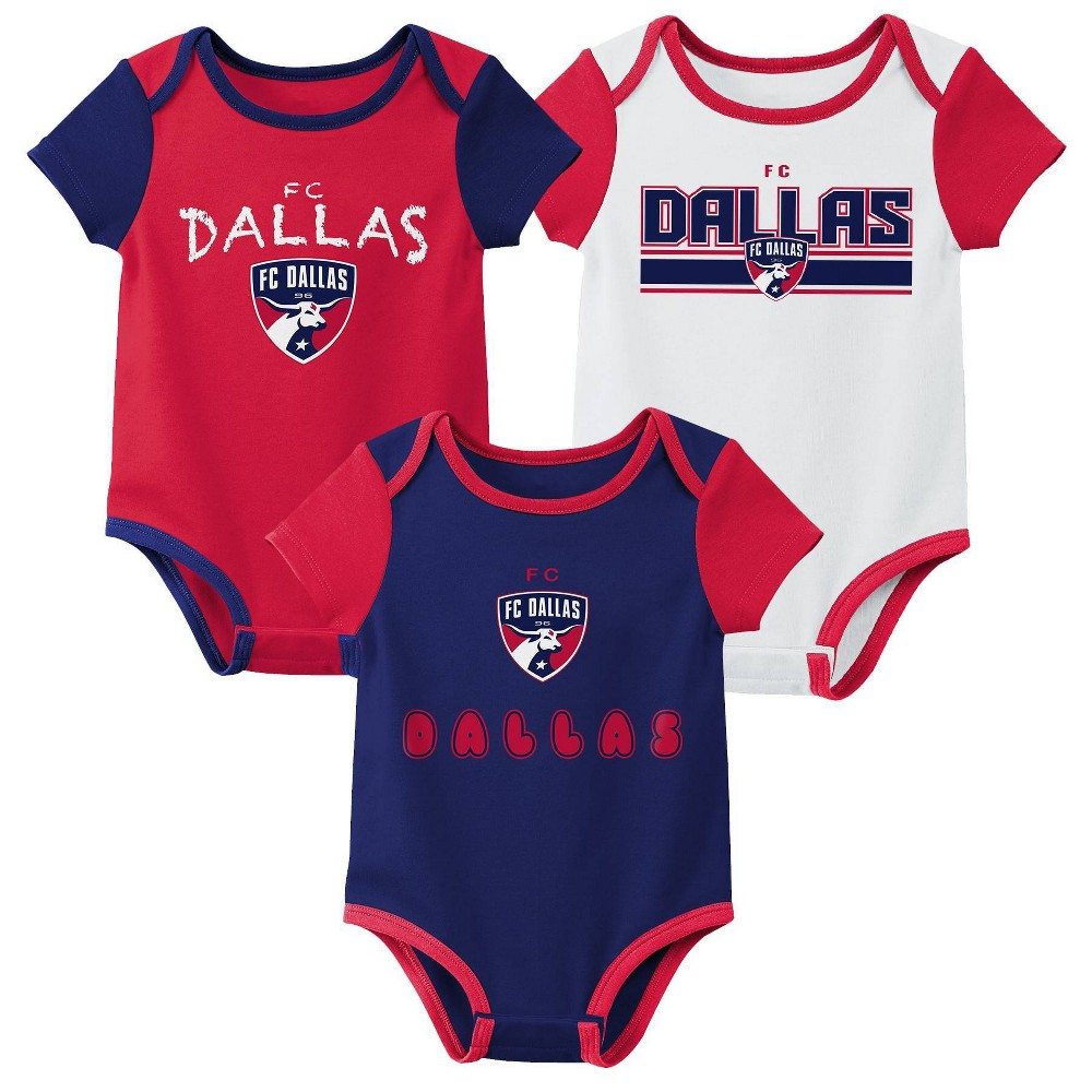Mls Fc Dallas Baby 3pk Bodysuit Set 3m