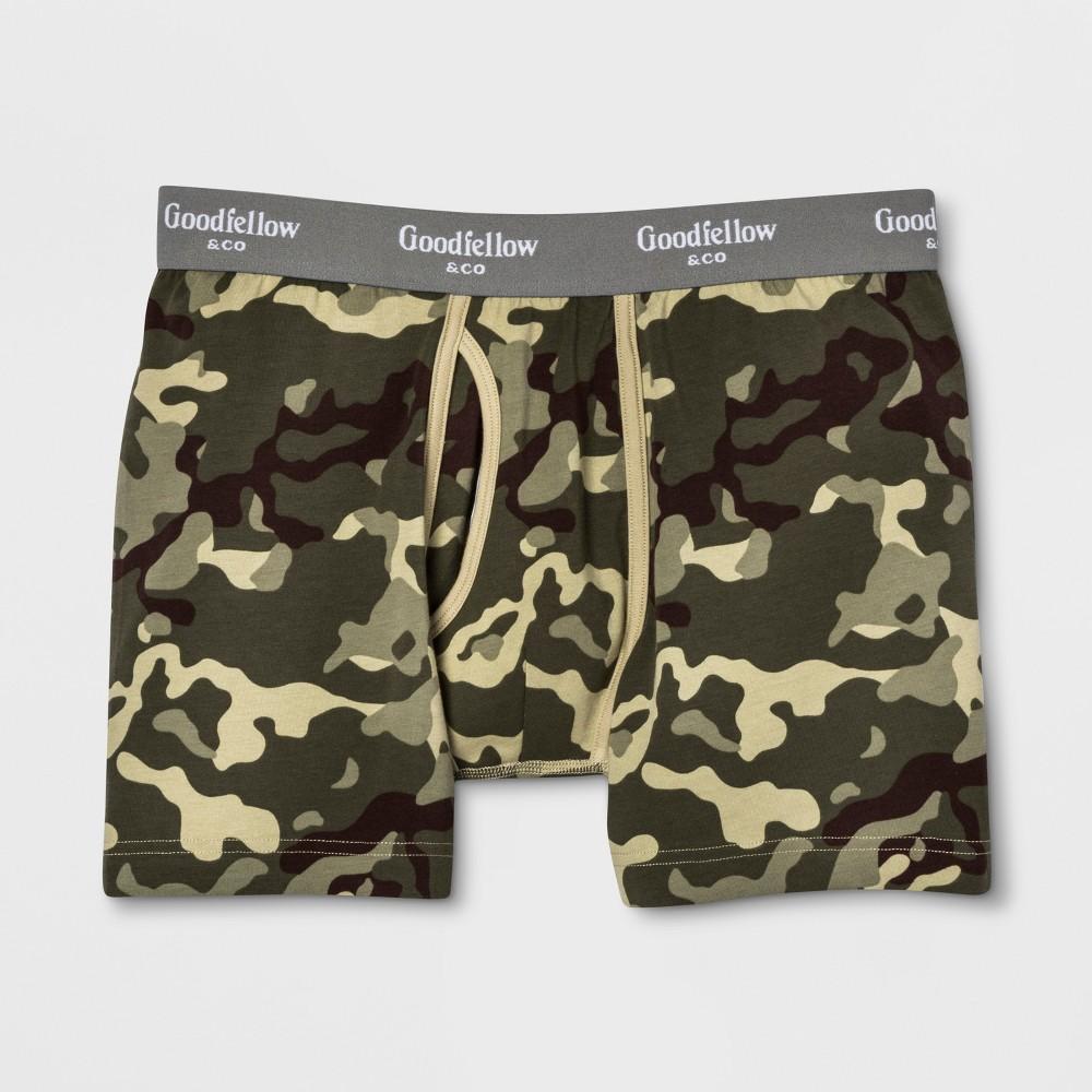 Men's Camo Print Knit Boxer Briefs - Goodfellow & Co Green S
