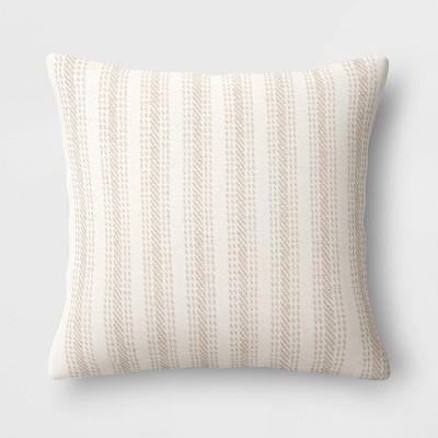 Woven Striped Square Throw Pillow Neutral - Threshold™