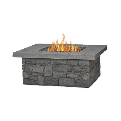 Sedona Square Fire Pit with NG Conversion Gray - Real Flame