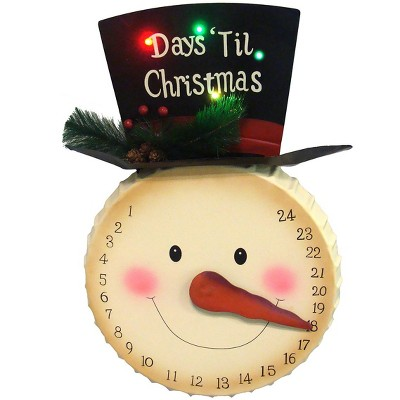 "Sterling 20"" Pre-Lit Beige and Black Artificial Christmas Snowman Advent Calendar"