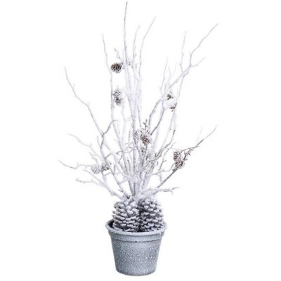 Melrose 2' White and Gray Potted Snow Covered Artificial Christmas Tree - Unlit
