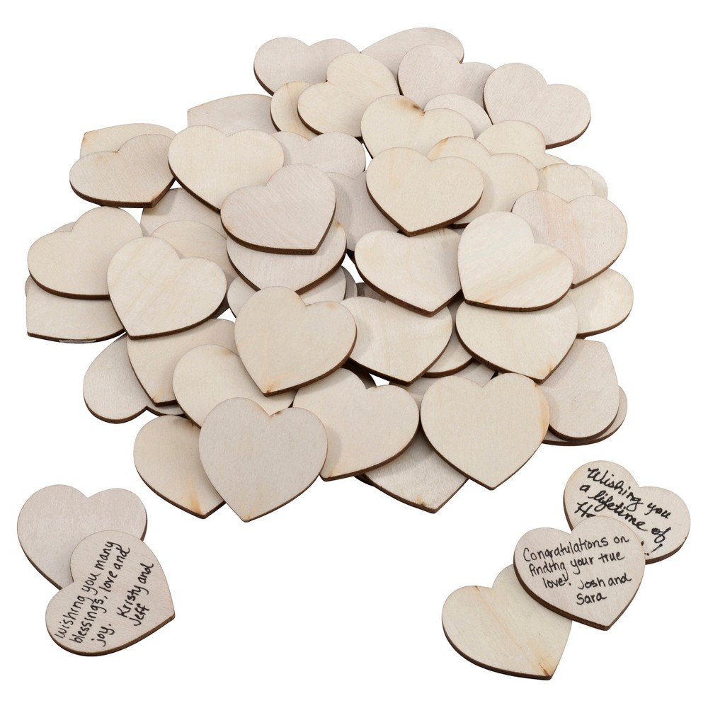 Image of 48ct Natural Wood Signing Hearts, Brown