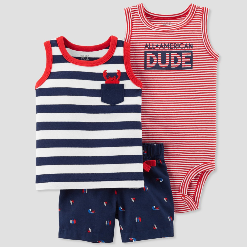 Baby Boys' 3pc All American Dude Set - Just One You made by carter's Navy 12M, Blue