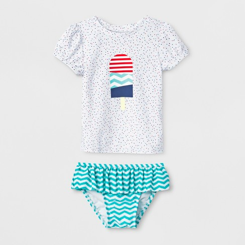 e4babab7417 Toddler Girls  Short Sleeve Popsicle Rash Guard - Cat   Jack™ White ...