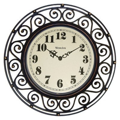 Filigree Metal Wall Clock Bronze - Westclox®