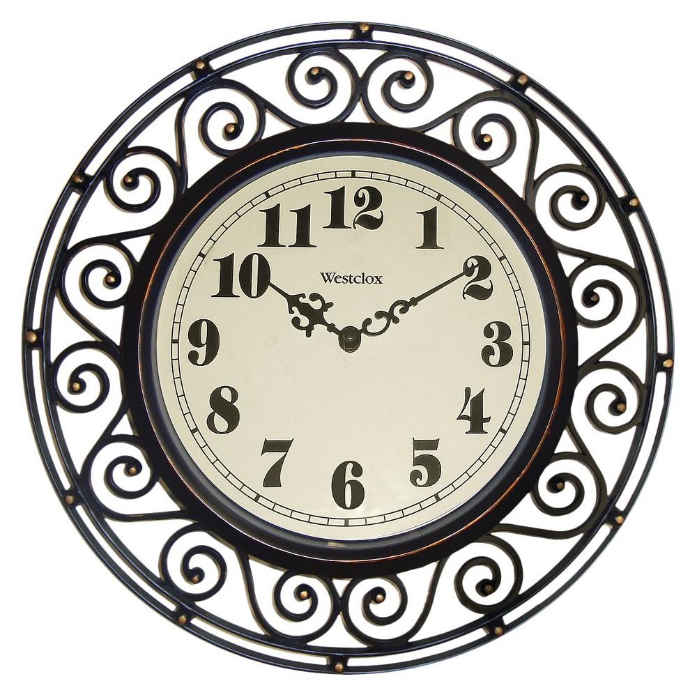 Image of Filigree Metal Wall Clock Bronze - Westclox
