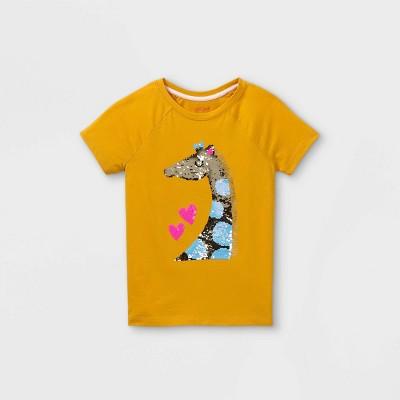 Girls' Flip Sequin Giraffe Short Sleeve T-Shirt - Cat & Jack™ Yellow