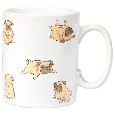 Blue Panda White Ceramic Smiling Pug Coffee Mug Stoneware Tea Cup Large 16 oz Novelty Gift