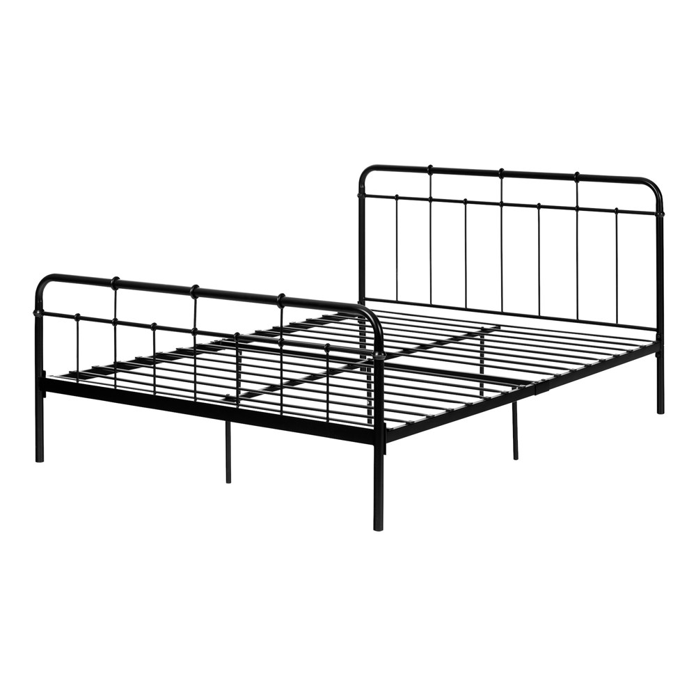 Versa Metal Platform Bed With Headboard Black - South Shore