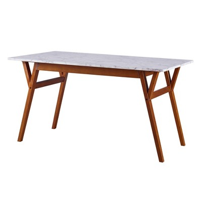 Ashton Rectangular Dining Table with Faux Marble Top Solid Wood Leg Walnut - Teamson Home