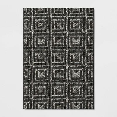 7' x 10' Diamond Pixel Outdoor Rug Black - Project 62™