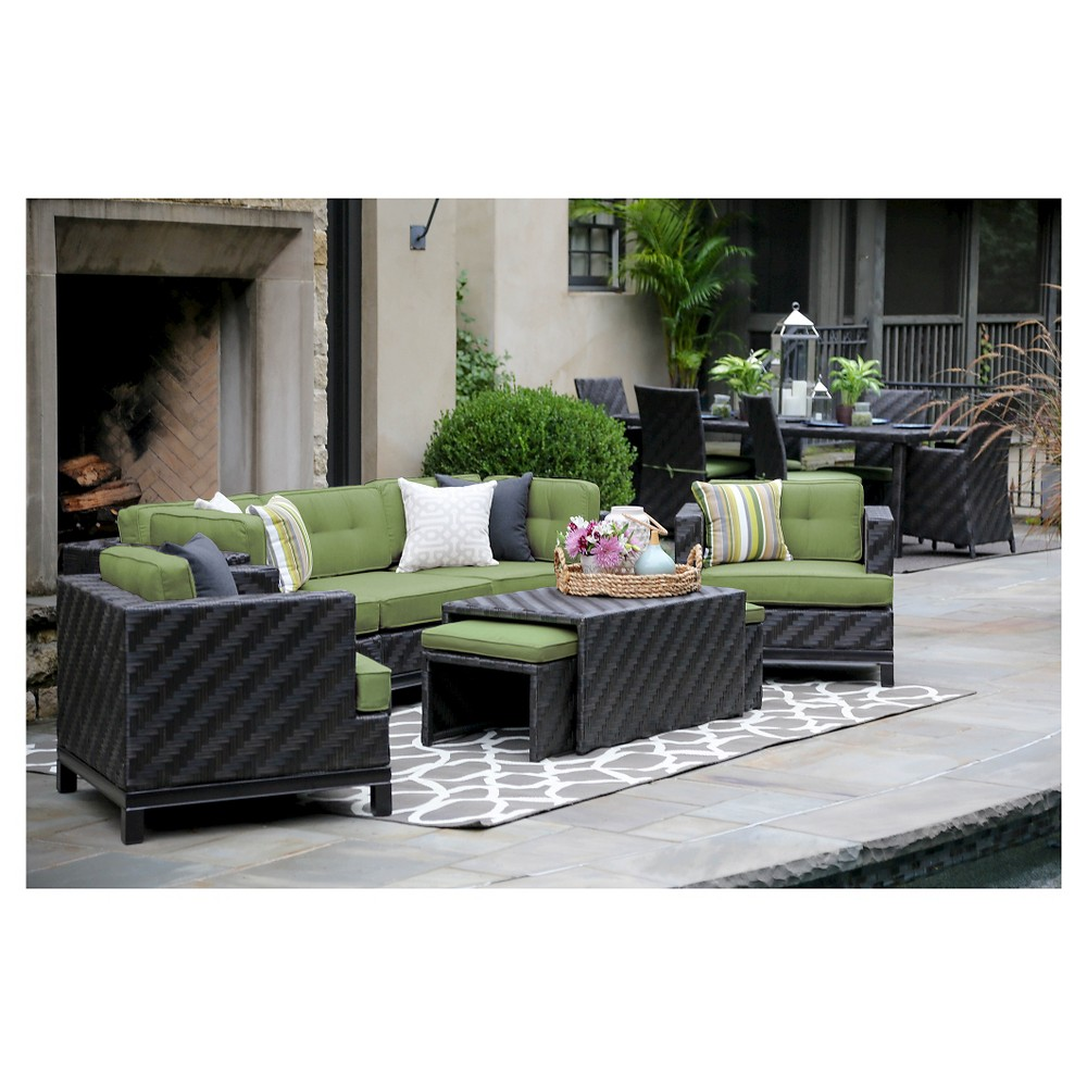 Rachel 8-Piece Deep Seating with Sunbrella Fabric Spectrum - Cilantro
