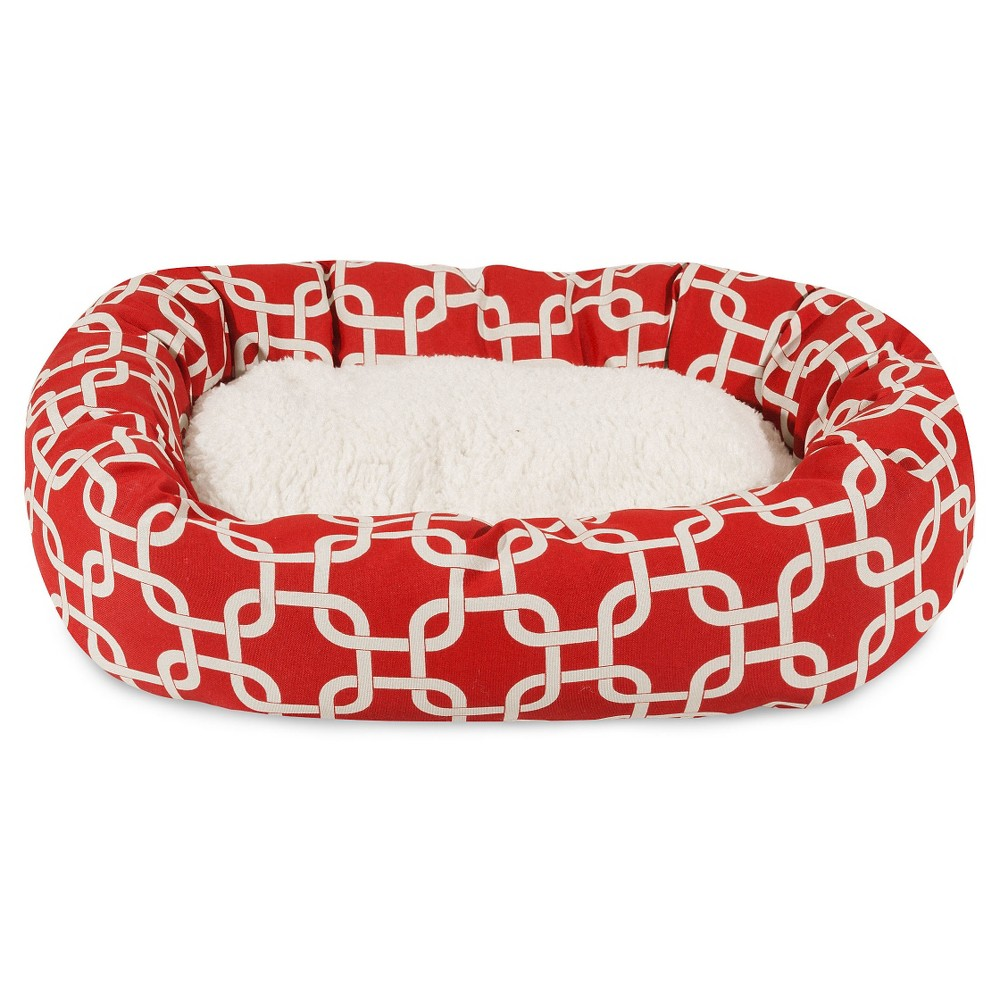 Majestic Pet Links Sherpa Bagel Dog Bed - Red - 24