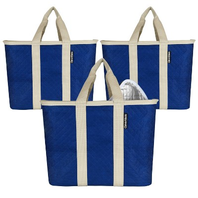 CleverMade SnapBasket Insulated Collapsible Grocery 32qt Shopping Bag Tote with Zippered Lid Navy/Cream - 3pk