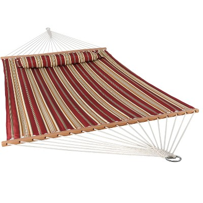 Sunnydaze Heavy Duty Two-Person Quilted Fabric Hammock with Spreader Bars - 450 lb Capacity - Red Stripe