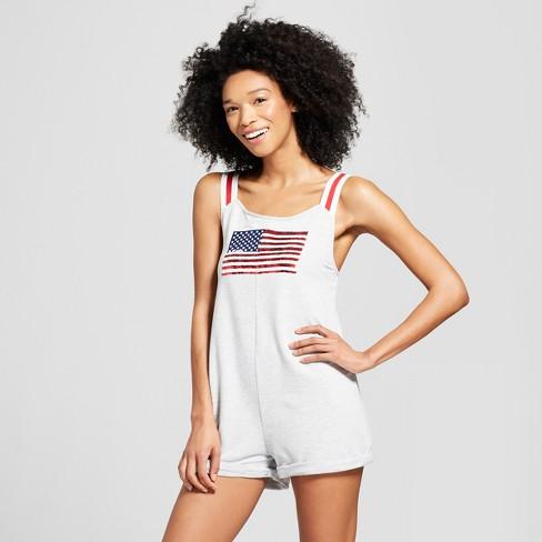 83d5959d8b0 Weekend Soul Women s Reversible Sequence American Flag Sleep Romper -  Heather Gray