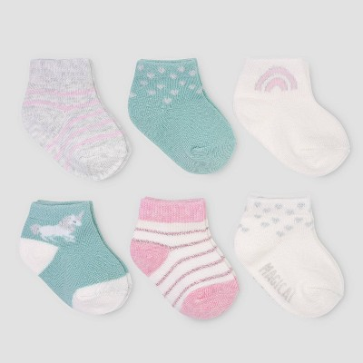 Baby Girls' 6pk Unicorn Ankle Socks - Just One You® made by carter's 0-3M