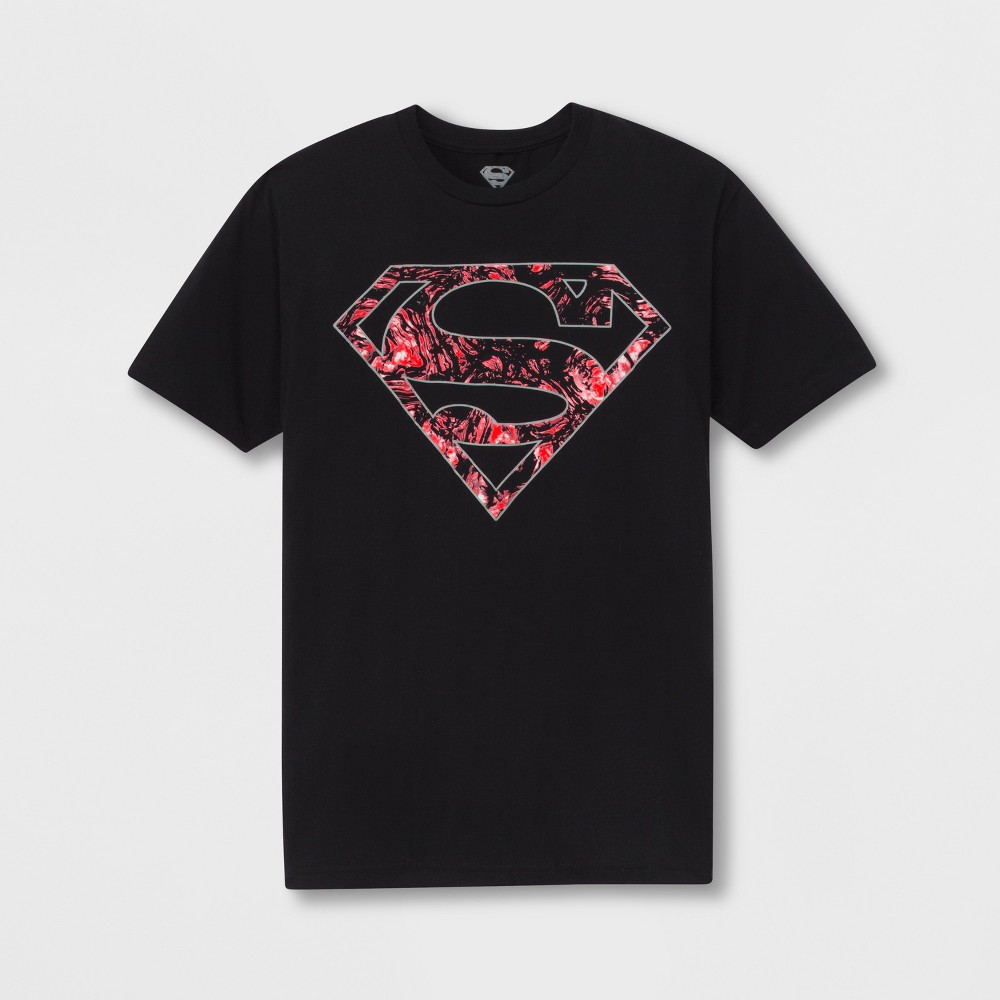 Men's Short Sleeve DC Comics Superman Red Flame Crew T-Shirt - Black L