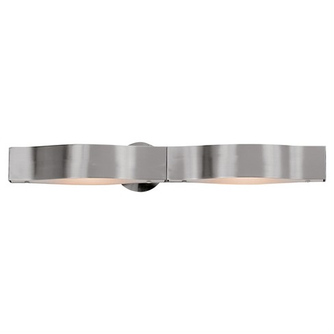 Titanium 2-Light Bath with Frosted Glass Shade - Brushed Steel - image 1 of 2