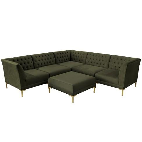 Swell 6Pc Audrey Diamond Tufted Sectional With Brass Metal Y Legs Dark Green Velvet Cloth Co Uwap Interior Chair Design Uwaporg