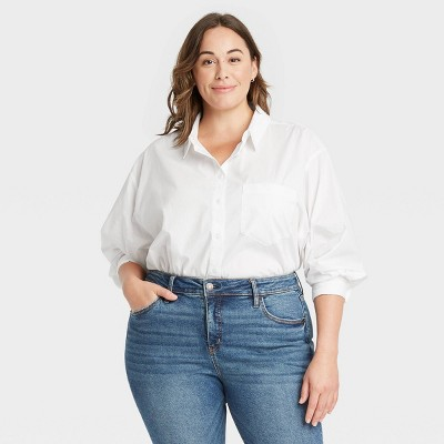 Women's Plus Size Long Sleeve Button-Down Oversized Tunic - Ava & Viv™