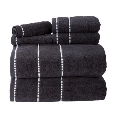 Solid Bath Towels And Washcloths 6pc Black - Yorkshire Home