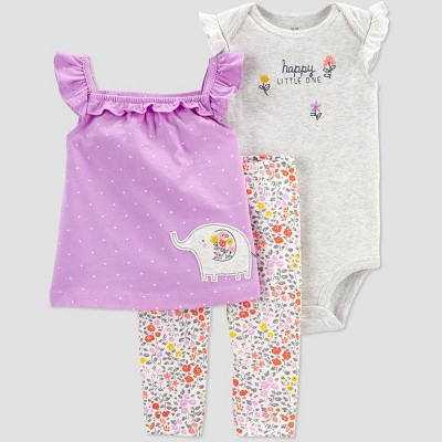 Baby Girls' Floral Elephant Top & Bottom Set - Just One You® made by carter's Purple