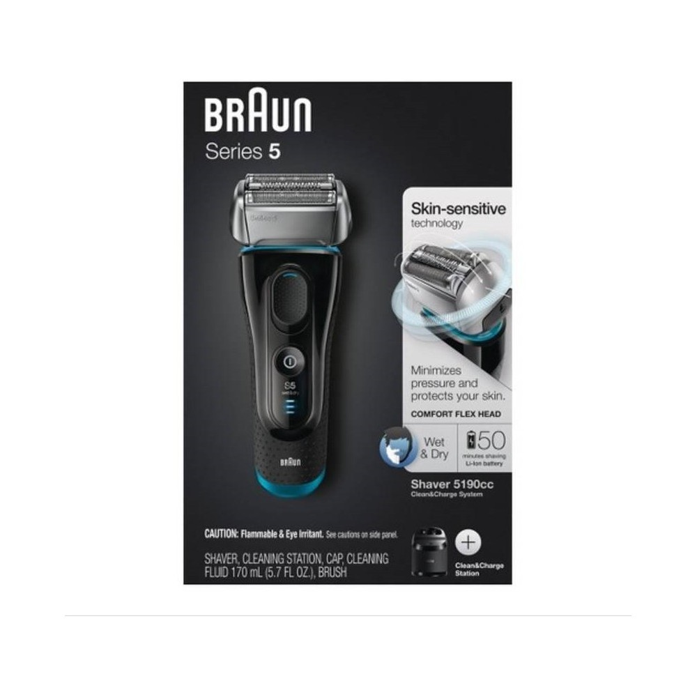 Braun Series 5 5190cc Men's Electric Shaver with Clean & Charge System, Black