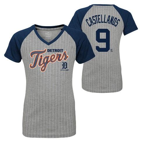 save off cf29f 62786 Detroit Tigers Girls' Short Sleeve Pinstriped V-Neck Nicholas Castellanos  Jersey T-Shirt - Gray XL