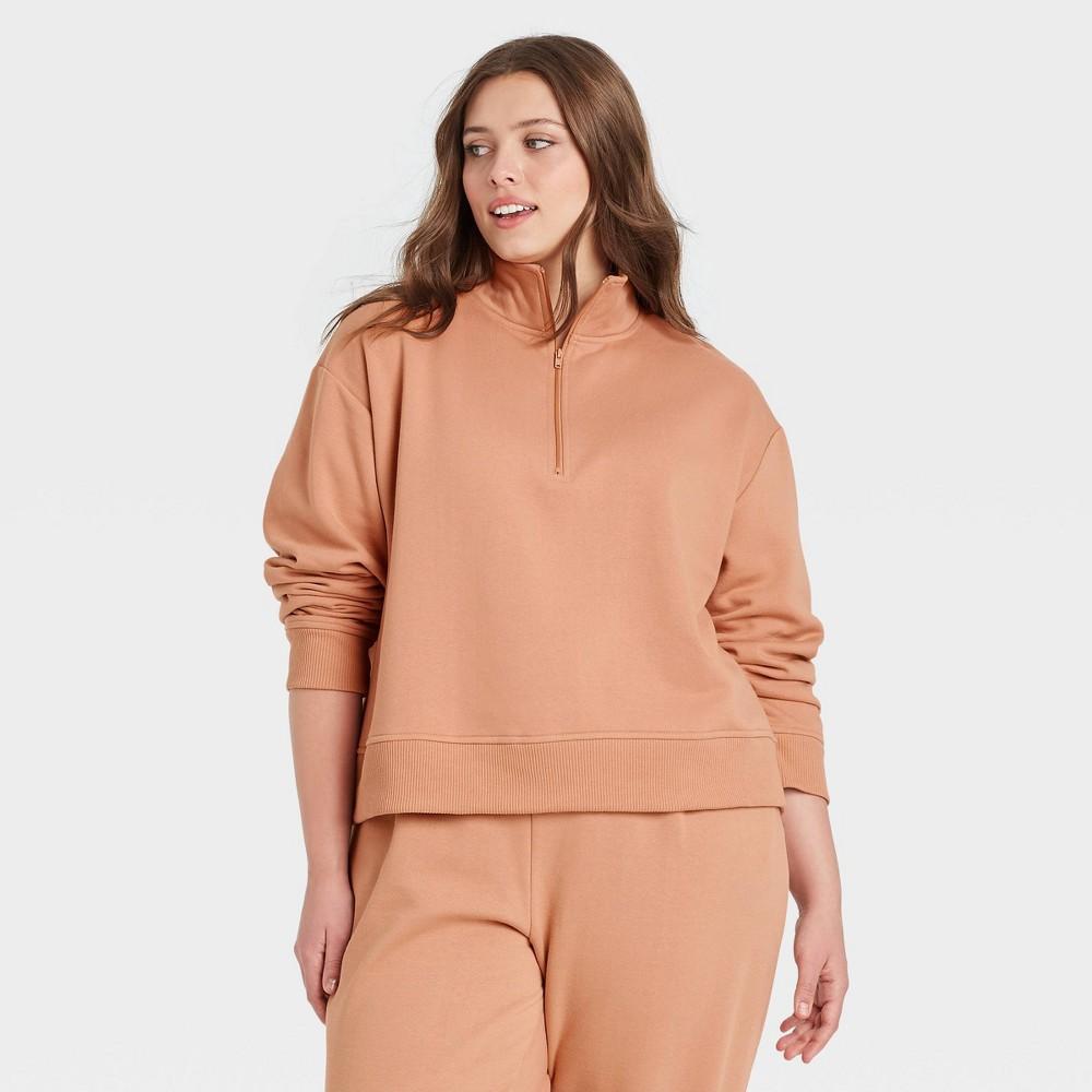 Women 39 S Plus Size All Day Fleece Quarter Zip Sweatshirt A New Day 8482 Blush Pink 2x