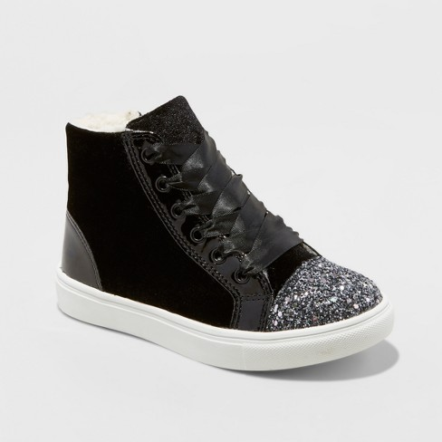 Girls' Stevies #WEEKENDVIBES Glitter High Top Sneakers - Black - image 1 of 3