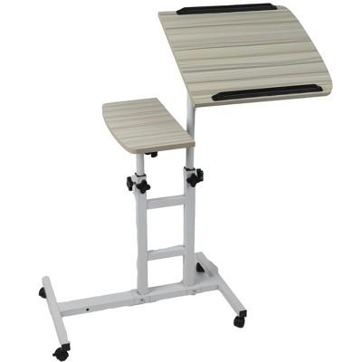 Mind Reader Variable Height Rolling Standing Desk Home Office Laptop Workstation, White, Wood