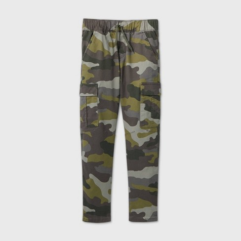 Boys' Stretch Pull-On Cargo Jogger Fit Pants - Cat & Jack™ Green - image 1 of 2