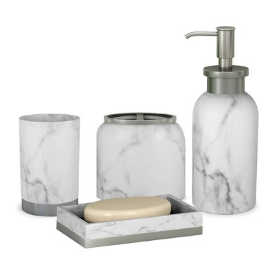 4pc Misty Bath Accessory Set for Vanity Counter Tops Silver - Nu Steel