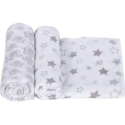 MiracleWare Muslin Swaddle Stars & Elephants Gray - 2pk