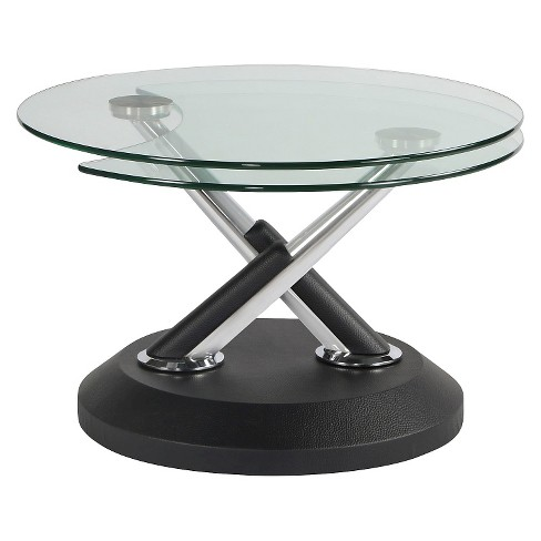 Modern Swivel Coffee Table.Modesto Metal And Glass Swivel Cocktail Table Synthetic Black